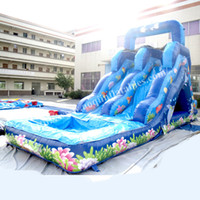 backyard playground slides - AOQI ocean fish water slide adult inflatable beach slide customized inflatable dry slide playground slide for sale