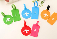 airplane candies - 2017 Newest style Fashion Silica Gel Luggage Tag Airplane Pattern Rectangle Round Shape Label Bags Tags Candy Colors B1