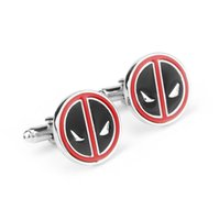 Wholesale Top Grade superhero Deadpool Cufflink for Men Hot Movie Cufflinks wedding Cuff Links Fashion Jewelry
