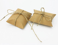 bags paper craft - Cute Kraft Paper Pillow Favor Gift Box Wedding Party Favour Gift Candy Boxes Paper Gift Box Bags Supply