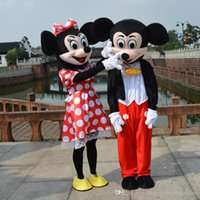 Wholesale 2016 Mickey And Minnie Mouse Costume Mascot Cartoon Suit Adult Size Clothing Party Fancy Dress Brand