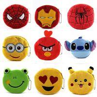 bear design bags - New Designs Coin Purses Emoji Superheroes Spiderman Iron Man Baymax Minions Bob Stuart Pig Bird Bear Plush Money Bag Wallet Pendant Gift