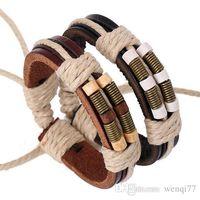 Cheap New Hot Bronze spring wood bead leather bracelet Woven Bracelet Bracelet