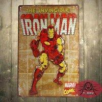 Marvel Comics Iron Man ретро Comic Art Панели Закаленный Олово знак плакат Человек стиль ретро пещеры, Street Rod, для гаражей # 160909
