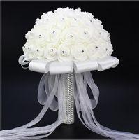 beautiful silk flowers - Hot Sales White Foam Simulation Flowers Beautiful Bridal Wedding Holding Flowers Exquisite Handmade Wedding Supplies Bouquet