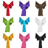 Wholesale Satin Chair Sashes Banquet Sash Wedding Party Bows Tie Decoration Chair Cover Sash Bow Wedding Anniversary Sashes