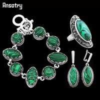 antique looking wedding rings - Vintage Look Antique Silver Plated Delicate Double Layer Clip On Earrings Bracelet Ring Oval Malachite Jewelry Sets TS229