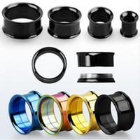 Wholesale 316 Stainless Steel ear plugs flesh tunnels Earring Hollow Expander Ear Gauges Kit Piercing Jewelry MM MM