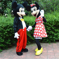 Wholesale factory direct one pair of Mickey and Minnie mascot costume adult promotions COS costume Halloween costume Christmas party cartoon adult si