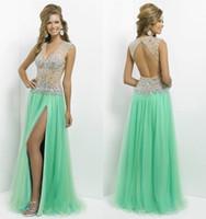 best price sequin long dress - Best Price formal dresses A line V neck Sage Net Tulle Beads Sequin Backless Side slit Long Prom Dresses Evening Dresses