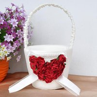Wholesale Festive Party Supplies Event Party Supplies LS4G Romantic Wedding Ceremony Flower Girl Basket Satin Red Love Rose Decor