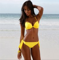 Wholesale Hot Sale Yellow Bandage Swimsuit Push Up Bikinis Women Swimwear Brazilian Bikinis Set Bathing Suit biquinis feminino FS0545