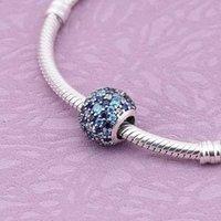 authentic pandora bead blue - 925 Silver Beads Fit Authentic Pandora Charms Spacer Beads CZ Stones for Pandora Bracelet Original Jewelry Hand Making PX00115