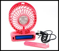 Wholesale 2016 Factory Supply Vanes USB Fan Speeds Portable Mini USB Rechargeable Desktop Fan wih LED Light Free DHL