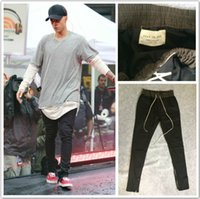 Wholesale 2016 kanye west yeezus men jeans hiphop pants side zippers casual fear of god jogger pants Elastic Stretch trousers yeezies