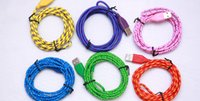 Wholesale Micro USB Braided Fabric V8 Charger Data Sync Nylon Flat Cable Cord Adapter Charging Flat Noodle M FT for Adroid Iphone5 Iphone6