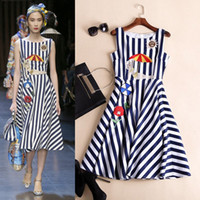 Wholesale Brand Designer Summer Dress for Women Runway Dresses Embroidered Stripe Mid Calf Fashion Outfits Sundress Casual Dress