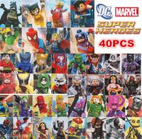 Wholesale 40pcs Superhero Collection Batman Hulk X men Avengers Thor Marvel DC Figure Building Blocks Minifigure Toys Gift