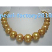 Wholesale HUGE golden natural quot AAA MM SOUTH SEA PEARL NECKLACE K gold Clasp