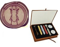 beetle pictures - Vintage Custom Picture Wedding Invitation Stag Beetle Wax Seal Stamp Kit Gift Box Set