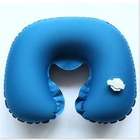 Wholesale 2016 New Folding Inflatable U Shape Air Pillow Outdoor Travel Neck Blow Up Cushion Portable PVC Flocking Office Plane Pillows