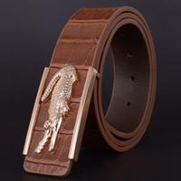 Cinturones de oro Baratos-2016 Cinturón de piel de cocodrilo hebilla del oro de la PU para hombres y mujeres marca de diseño hombres de la correa de los pantalones vaqueros para hombre negro clásico Correas de lujo cintos f