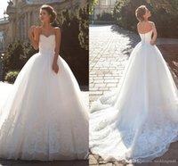 Wholesale Lace Vintage Millanova Wedding Dresses Sweetheart Ball Gown Tulle Bridal Dresses Sweep Train Elegant Wedding Gowns