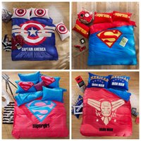 Wholesale LJJL187 Bed Quilt Cover Pillowcase Duvet Cover Captain America Cartoon Warm Superman Goose Down Bedding Sets