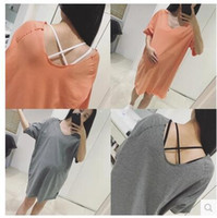 Wholesale Maternity Clothing Women Long Loose Tshirts v NECK Cotton Solid Color Dress Tops Wear