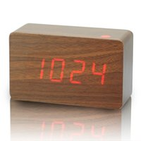 desktop wooden - New design Red LED Wood Wooden Digital Alarm Clock DC Input USB Battery Temperature Classic vintage desktop