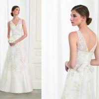 ac shoulder - Charming Applique Sexy V neck Sheer Strap Off the shoulder Long A line Wedding Dress Bridal Gown Custom Made ac