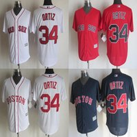 Wholesale 34 David Ortiz Jersey Boston Red Sox Jerseys Cool Base Jersey Cheap Baseball Sport Jersey Color White Blue Red