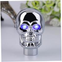 Wholesale universal gear shift knob car skull head modification lighted shift knob gear stick blue LED metal head car gear knob