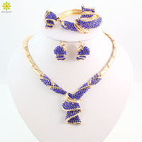 Cheap Fashion High Quality Nigerian Wedding African Beads Jewelry Sets Blue Crystal Dubai Gold Plated Big Jewelry Sets Costume