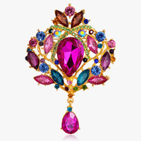 Wholesale DHL Free Fashion Jewelry Vintage Water Drop Silver Alloy Crystal Rhinestone Brooches Pin Bouquet Bridal Flower Wedding Gift For Women