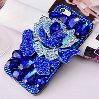 Wholesale Luxury Bling Rhinestone Crystal Diamonds Clear Blue Rose Phone Case Cover for IPhone for Samsung for LG