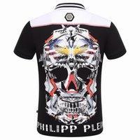Wholesale New Hot Sale Short PoloShirt Fit Slim Style T shirt Casual MENS Tee Print Skull Mens TShirts PP1020