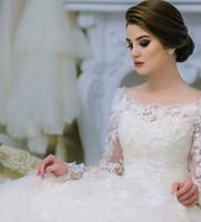 Wholesale 2016 Long Sleeve Bridal Wedding Dresses vestidos de novia Sheer Scoop Neckline D Lace Appliqued Ball Gown Court Train Wedding Gowns
