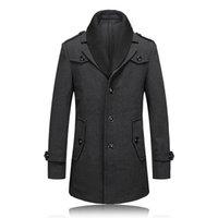 Men s woolen coat Preços-Queda-2016 novos inverno de lã para homem homens trench coat único Breasted Trench Homens Casacos Brasão Casual jaqueta corta-vento dos homens