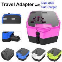 apple laptops uk - Multi functional Travel Universal Adaptor with Car Charger Dual USB Sockets UK AU USA EU Plug for iPhone Laptop Camera VAC Output