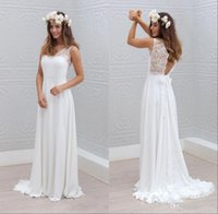 Ball Gown basque customs - 2016 Bohemian Beach Wedding Dresses Sheer V Neck Sweep Train Lace Chiffon Sexy Backless Seaside Bohomian Bridal Gowns