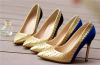 beautiful shoes - Beautiful unique shoe heel rivet color shallow mouth pointed toe high heeled shoes single shoes