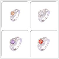 Wholesale Luxury Crystal Diamond AAA CZ For Women Gift Imitation Rhodium Plated Rings Top Fashion With Jewelry Chirstmas Hot Sales