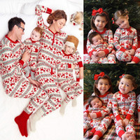Wholesale 2017 Xmas Kids Adult Family Matching Christmas Deer Striped Pajamas Sleepwear Nightwear Pyjamas bedgown sleepcoat nighty Piece Sets