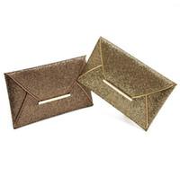 Wholesale Women Evening Party Bags Gold Sequins Bag Purse Clutch Handbags Envelope Pattern Shiny Purse Bolsas Messenger Bags
