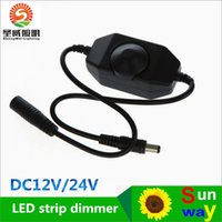 Wholesale 30PCS V DC A W Line in Single Color LED dimmer with knob switch ON OFF Male Female DC Connectors LED Strip to Power Supply