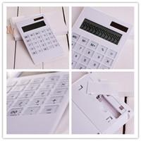 Wholesale New Arrive Creative Slim Portable mini digital calculator Solar Energy crystal keyboard Dual power supply rekenmachine