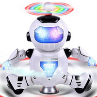Wholesale New cartoon space dance electric robot degree rotating light music infrared hot toy