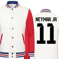 baseball cup sizes - Fall World Cup Neymar da Silva thick velvet baseball uniform men s Jackets college jacket boys big size men clothing