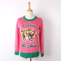 Wholesale 2016 Plum Long Sleeves Women s Sweater Top Quality Tiger Head Embroidery Milan Runway Women s Pullovers